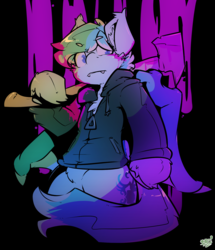 Size: 1496x1741 | Tagged: safe, artist:bbsartboutique, oc, oc only, oc:radbat, bat pony, 80's fashion, axe, clothes, hoodie, neon, weapon