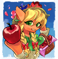 Size: 824x838 | Tagged: safe, artist:akomaru, applejack, anthro, earth pony, alternate hairstyle, apple, basket, clothes, female, flower in hat, flower petals, food, jewelry, looking at you