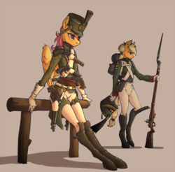 Size: 1500x1476 | Tagged: safe, artist:madhotaru, applejack, scootaloo, earth pony, pegasus, anthro, unguligrade anthro, bayonet, boots, clothes, empire period, featured image, female, fence, flintlock, gloves, gun, handgun, hat, leaning, mare, military uniform, musket, napoleonic wars, older, older scootaloo, pistol, rifle, russian, sexy, shoes, simple background, soldier, uniform, weapon