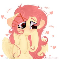 Size: 2160x2160 | Tagged: safe, artist:colorochka, oc, oc only, oc:little bee, pegasus, pony, belly button, blushing, bust, chest fluff, cute, female, floppy ears, heart, heart eyes, looking away, looking down, mare, not fluttershy, portrait, simple background, smiling, solo, white background, wingding eyes, wings