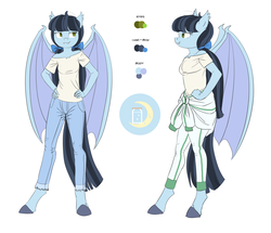 Size: 6410x5504 | Tagged: absurd res, anthro, anthro oc, artist:carnifex, bat pony, bat pony oc, clothes, female, jeans, mare, mccolt family, oc, oc:moonshine mccolt, oc only, pants, reference sheet, safe, shirt, the hooffields and mccolts, t-shirt, unguligrade anthro