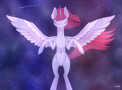 Size: 3876x2880 | Tagged: safe, alternate version, artist:dsp2003, oc, oc only, oc:fausticorn, alicorn, pony, alicorn oc, belly button, eyes closed, female, mare, shooting star, solo, space, stars