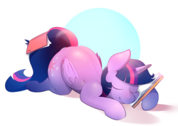 Size: 3966x2814 | Tagged: abstract background, alicorn, artist:b-epon, book, bookhorse, cute, female, folded wings, mare, misleading thumbnail, pony, safe, sleeping, solo, that pony sure does love books, the ass was fat, twiabetes, twibutt, twilight sparkle, twilight sparkle (alicorn)