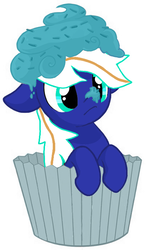 Size: 418x705 | Tagged: safe, artist:miikanism, edit, oc, oc only, oc:electric blue, pegasus, pony, base used, cream, cupcake, floppy ears, food, frosting, micro, simple background, solo, sprinkles, surprised, white background