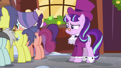 Size: 1920x1080   Tagged: safe, screencap, bonnie rose, comet tail, evening stroll, paraviolet, snowfall frost, starlight glimmer, pony, a hearth's warming tail, background pony, butt, context is for the weak, hat, plot, spectacles, top hat, unnamed pony