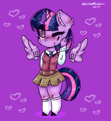 Size: 526x578 | Tagged: alicorn, anthro, artist:yunieelloa, chibi, clothes, floating wings, safe, schoolgirl, solo, twilight sparkle, twilight sparkle (alicorn)