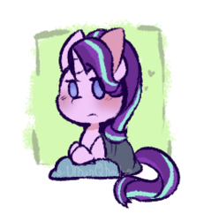 Size: 250x270 | Tagged: artist:urbanqhoul, blanket, pillow, pony, safe, solo, starlight glimmer, unicorn