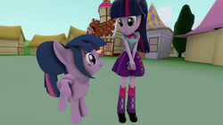 Size: 1280x720 | Tagged: safe, artist:wonderschwifty, sci-twi, twilight sparkle, alicorn, pony, equestria girls, 3d, equestria girls ponified, looking at each other, missing accessory, no glasses, ponified, scitwilicorn, self ponidox, source filmmaker, twilight sparkle (alicorn), twolight