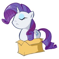 Size: 800x800 | Tagged: safe, artist:rvceric, rarity, pony, unicorn, :<, behaving like a cat, box, cute, eyes closed, fabulous, female, horn, if i fits i sits, mare, pony in a box, raribetes, raricat, simple background, solo, white background