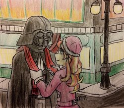 Size: 800x697 | Tagged: safe, artist:fallenangel5414, sunset shimmer, equestria girls, anakin skywalker, christmas, christmas spirit, clothes, darth vader, empathy, holiday, kindness, not shipping, return of the jedi, scarf, star wars, the empire strikes back, traditional art