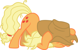 Size: 3107x2015 | Tagged: applejack, artist:davidsfire, covering, cowboy hat, earth pony, fame and misfortune, female, hat, mare, safe, scared, simple background, solo, spoiler:s07e14, stetson, transparent background, vector