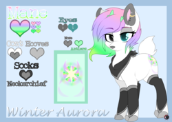 Size: 3507x2480 | Tagged: antlers, artist:red_moonwolf, clothes, deer, deer pony, heterochromia, neckerchief, oc, oc only, oc:winter aurora, original species, piercing, reference sheet, safe, socks, solo