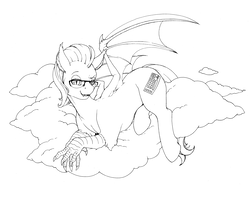 Size: 5000x3955   Tagged: safe, artist:longinius, oc, oc only, oc:keystroke, bat pony, hippogriff, hybrid, absurd resolution, bat wings, black and white, cloud, fangs, glasses, grayscale, lidded eyes, looking at you, lying down, male, monochrome, on a cloud, prone, simple background, smiling, smirk, solo, spread wings, stallion, talons, white background, wings