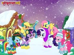Size: 800x600   Tagged: safe, artist:user15432, applejack, fluttershy, pinkie pie, rainbow dash, rarity, twilight sparkle, alicorn, clothes, dressup, dressup game, earmuffs, egirlgames.net, mane six, rainbow socks, scarf, snow, snowfall, snowflake, socks, striped socks, twilight sparkle (alicorn), warm clothing, winter, winter outfit, wintertime