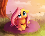 Size: 2500x2000 | Tagged: artist:miokomata, cute, cute little fangs, fangs, female, floppy ears, fluffy, fluttershy, head tilt, hnnng, looking at you, looking up, mare, outdoors, pegasus, pillow, pony, prone, safe, shyabetes, smiling, solo, weapons-grade cute