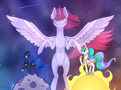 Size: 3876x2880 | Tagged: safe, artist:dsp2003, princess celestia, princess luna, oc, oc:fausticorn, alicorn, pony, alicorn oc, belly button, eyes closed, female, jewelry, mare, moon, mother and daughter, necklace, open mouth, regalia, shooting star, space, stars, sun, tangible heavenly object, updated