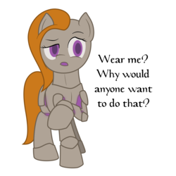 Size: 1500x1500 | Tagged: armor, armor pony, artist:lucern, dialogue, female, object pony, oc, oc:argent charge, oc only, original species, ponified, raised hoof, safe, simple background, solo, transparent background, unamused, vector