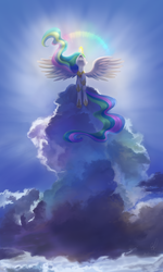 Size: 1500x2500 | Tagged: alicorn, artist:divlight, cloud, crepuscular rays, female, flying, halo, magic, majestic, mare, phone wallpaper, pony, princess celestia, rainbow, safe, solo, spread wings, wallpaper, wings