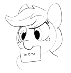 Size: 720x738 | Tagged: safe, artist:dimfann, applejack, earth pony, pony, bust, cowboy hat, cute, female, grayscale, hat, jackabetes, mare, monochrome, mouth hold, nom, portrait, raised eyebrow, reaction image, simple background, sketch, smiling, smirk, solo, wew, white background