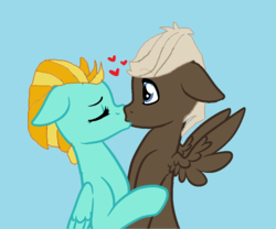 Size: 1000x831 | Tagged: artist:jwwprod, base used, dumbbell, female, floppy ears, kissing, lightningbell, lightning dust, love, male, mare, pegasus, pony, romance, safe, shipping, spread wings, straight, surprised, surprise kiss, wide eyes, wingboner, wings