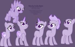 Size: 2145x1335 | Tagged: safe, artist:shiibases, oc, oc only, alicorn, earth pony, pegasus, unicorn, alicorn oc, bald, base, earth pony oc, eyelashes, female, flying, grin, group, hat, hoof on chest, horn, looking back, looking up, mare, pegasus oc, purple background, raised hoof, simple background, smiling, solo, unicorn oc, wings