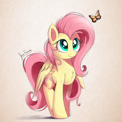 Size: 1800x1800 | Tagged: safe, artist:bugplayer, fluttershy, butterfly, pegasus, pony, chest fluff, colored sketch, cute, featured image, female, looking at something, looking up, mare, shyabetes, simple background, smiling, solo, standing, stare, sweet dreams fuel