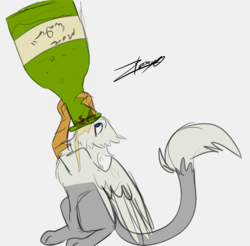 Size: 1234x1216 | Tagged: safe, artist:tinibirb, artist:xeirla, color edit, edit, oc, oc only, oc:der, griffon, alcohol, champagne, colored, drink, drinking, micro, sketch, solo, wine