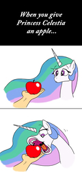Size: 1495x3113   Tagged: safe, artist:banebuster, princess celestia, alicorn, pony, apple, comic, disembodied hand, eating, female, flehmen response, food, fruit, hand, herbivore, hoers, horses doing horse things, majestic as fuck, mare, open mouth, simple background, wat, white background