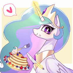 Size: 1000x1000 | Tagged: safe, artist:9seconds, princess celestia, alicorn, pony, blueberry, crown, cute, cutelestia, female, food, fork, glowing horn, heart, jewelry, knife, looking at you, magic, mare, pancakes, pictogram, regalia, smiling, solo, strawberry, telekinesis, whipped cream