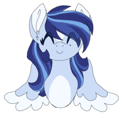 Size: 1750x1688 | Tagged: artist:azure-art-wave, bust, c:, cute, eyes closed, female, mare, oc, oc:azure, ocbetes, oc only, pegasus, pony, portrait, safe, simple background, smiling, solo, spread wings, transparent background, wings