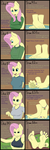 Size: 1600x4843 | Tagged: safe, artist:nudeknightart, fluttershy, anthro, anklet, barefoot, big feet, breasts, comic, confident, feet, female, fetish, foot fetish, foot growth, footershy, growth, implied twilight sparkle, lip bite, shy, teasing, toe ring, toe rings, wiggling toes