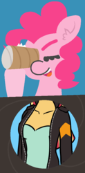 Size: 442x895 | Tagged: artist:mkogwheel, artist:threetwotwo32232, breasts, comic, edit, pinkie loves bacon bits, pinkie pie, safe, sunset shimmer, toilet paper roll, what does she see