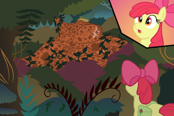 Size: 1800x1200 | Tagged: abandoned, apple bloom, artist:regularmouseboy, everfree forest, rusty, safe, solo, tank (vehicle), vines, world war ii