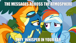 Size: 1920x1080 | Tagged: safe, screencap, rainbow dash, spitfire, electric light orchestra, image macro, lyrics, meme, secret, secret messages, song reference, whispering