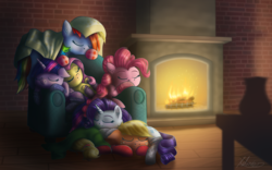 Size: 5796x3622 | Tagged: absurd res, alicorn, applejack, artist:helmie-d, blanket, clothes, earth pony, eyes closed, fireplace, fluttershy, freckles, hearth's warming, mane six, pegasus, pinkie pie, pony, rainbow dash, rarity, safe, signature, sleeping, socks, twilight sparkle, twilight sparkle (alicorn), unicorn