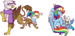 Size: 2050x972 | Tagged: safe, artist:kikirdcz, gilda, rainbow dash, oc, oc:gren, oc:rainbow feather, griffon, hippogriff, pegasus, pony, clothes, cute, family, female, gildash, hat, interspecies, interspecies offspring, lesbian, magical lesbian spawn, male, mother and daughter, mother and son, next generation, offspring, parent:gilda, parent:rainbow dash, parents:gildash, scarf, shipping, snow, snowball, snowball fight, winter