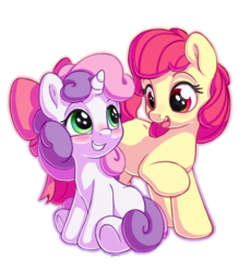 Size: 1100x1200 | Tagged: accessory swap, adorabloom, apple bloom, artist:bobdude0, blushing, bow, cute, diasweetes, duo, earth pony, eye contact, female, filly, hair bow, looking at each other, pony, raised hoof, safe, simple background, sweetie belle, unicorn, white background