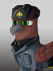 Size: 2340x3150 | Tagged: artist:sinniepony, benito mussolini, equestria at war mod, fascism, fascist, fez, gradient background, green eyes, griffon, griffonized, hat, military uniform, oc, oc only, safe, solo, species swap
