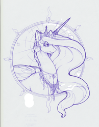 Size: 1198x1544 | Tagged: alicorn, artist:longinius, ballpoint pen, bust, crown, female, horn, horn ring, jewelry, mare, monochrome, necklace, pearl necklace, portrait, princess celestia, regalia, safe, simple background, sketch, traditional art, white background