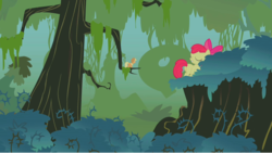 Size: 1280x722 | Tagged: apple bloom, applejack, appletini, brambles, bridle gossip, earth pony, everfree forest, female, forest, safe, screencap, sisters, stranded