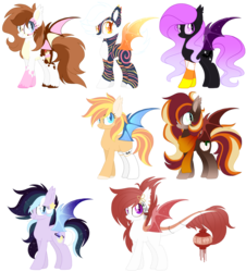 Size: 1024x1135 | Tagged: artist:deiiriush, bat pony, oc, oc:amber dawn, oc:autumn bite, oc:ayami iris, oc:fudge ripple, oc:kepler startrails, oc only, oc:taffy dusk, safe, unnamed oc