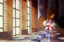 Size: 1700x1100 | Tagged: alicorn, alone, artist:bobdude0, bored, crepuscular rays, cute, dining room, dining table, dinner table, floppy ears, forever alone, frown, indoors, lonely, looking away, looking up, pony, princess celestia, sad, safe, sitting, solo, table, window