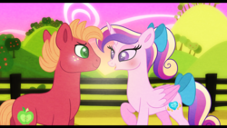 Size: 1280x720 | Tagged: artist:carouselunique, big macintosh, cadmac, crack shipping, female, male, princess cadance, safe, shipping, straight, sunrise, teenage big macintosh, teenager, teen princess cadance