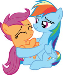 Size: 4084x4855 | Tagged: safe, artist:red4567, rainbow dash, scootaloo, pegasus, pony, campfire tales, absurd resolution, cute, cutealoo, dashabetes, duo, female, holding a pony, scootalove, simple background, sisterly love, transparent background, vector