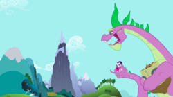 Size: 1279x718 | Tagged: clothes, coils, dragon, dragon mountain, greed spike, hoard, mountain, peak, pony, rarity, safe, screencap, secret of my excess, spike, spikezilla, unicorn
