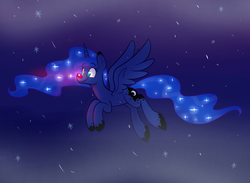 Size: 1500x1100 | Tagged: alicorn, artist:heir-of-rick, female, flying, mare, pony, princess luna, red nosed, safe, snow, snowfall, solo