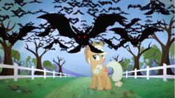 Size: 1281x719   Tagged: safe, screencap, applejack, bat, earth pony, fruit bat, pony, vampire fruit bat, bats!, season 4, apple orchard, bare tree, female, mare, red eyes, silhouette, stop the bats, tree