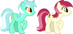 Size: 6441x3000 | Tagged: absurd res, .ai available, artist:cloudyglow, artist:parclytaxel, earth pony, female, lyra heartstrings, mare, pony, raised hoof, recolor, roseluck, safe, simple background, smiling, the super speedy cider squeezy 6000, transparent background, unicorn, vector