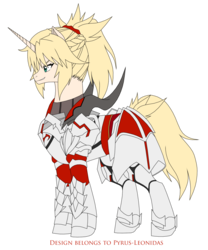 Size: 1773x2132 | Tagged: safe, artist:pyrus-leonidas, pony, unicorn, anime, armor, crossover, fate/apocrypha, fate/grand order, female, mare, mordred, ponified, saber, simple background, smiling, solo, transparent background, weapon