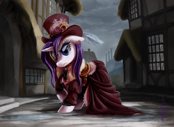 Size: 1858x1350 | Tagged: safe, artist:whitediamonds, rarity, pony, unicorn, clothes, commission, dress, ear piercing, factory, feather, female, hat, mare, monocle, piercing, rain, solo, steampunk, street, top hat, wet, wet mane, wet mane rarity